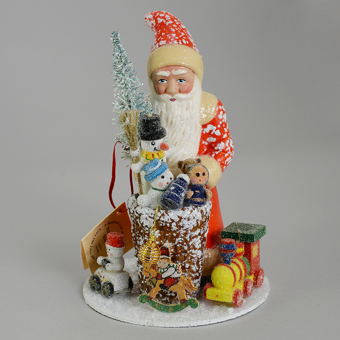Ino Schaller Santa With Toys Figurine Red Snowcovered
