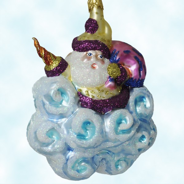 Magic Santa and Cloud, Larry Fraga Christmas Ornaments