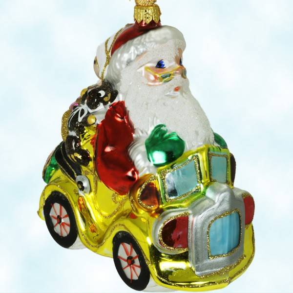 73546 - Polonaise Christmas Ornaments - Santa On Car - Wreath With Red Bow