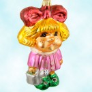 Daisy Darling, Christopher Radko Christmas Ornaments, 1997, 97-189-0, Blonde girl, red bow, pink dress, watering can, Mint