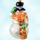 Chilly Sweeper, Christopher Radko Ornaments, 2001, 01-0090-0, Snowman in plaid scarf, black hat, purple band; holds broom, MWT