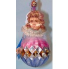 Cherub Ball-Inge Glass, Old World Christmas, 1993, 1528, Paper cherub face angel hair, wire caging, diamond texture ball, Mint With Tag
