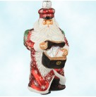 Postal Santa - Red, Patricia Breen Christmas Ornaments, 2003, 2388, Nordstrom, holly, snowflakes, Mint With Tag