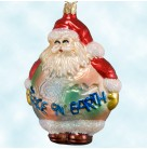 """Santa's Wish, Old World Christmas, Inge Glas, 1990s, 1656, Rotund red Santa holding a """"Peace on Earth"""" sign, Mint"""