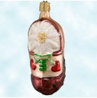 Shoe, White Poinsettia, Old World Christmas Inge Glas, Retired, Pearl and brown shoe with two hearts (Valentine), Mint