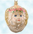 Angel Head Face, Old World Christmas Inge Glas, 1990s, 5406, Retired, Gold, wreath of pink roses on her headAngel Head, 5406, Retired, Old World Christmas Inge Glas