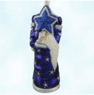 Topping The Tannenbaum - Blue, Patricia Breen Christmas Ornaments, 2001, 2140, Santa, glittered star, Mint With Tag