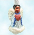 Quartet of Angels - Heart, Patricia Breen Christmas Ornaments, 1998, 9834, Afro American, blue & pearl, Valentines, Mint