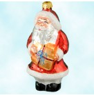 A Gifted Santa, Christopher Radko Christmas Ornaments, 1994, 94-070-0, Pediatric Charity, present, Mint with Tag Signed