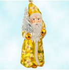 Floral Splendor Santa - Gold & Flowers, Father Christmas, Gabriela Christoff Ino Schaller Ornaments, 2006, 2974/4, Ltd 1000, bristle tree, Mint with Tag, Box