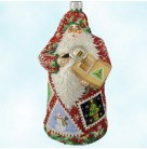 Evans Santa - Red Noel with Snowflakes, Patricia Breen Christmas Ornaments, 2005, 2518, Variation, Bejeweled, holiday stamps, Mint With Tag