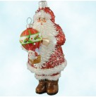 Lindell Santa - Red, Patricia Breen Christmas Ornaments, 2007, 2730, RQ, balloon, holly, snowflakes, Swaovski crystals, Mint With Tag