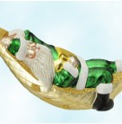 A Respite for Santa - Green Matte, Patricia Breen Christmas Ornaments, 1997, 9733, hammock, Mint With Tag