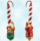 Peppermint Santa - Red & White - Matte Candy Cane , Patricia Breen Christmas Ornaments, 1998, 9833, Retired, Mint With Tag