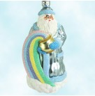 Rainbow Santa - Pastel, Patricia Breen Christmas Ornaments, 2000, 2029, blue, stars, St Patricks, Mint With Tag