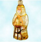 Miniature Beeskeeping Santa - Gold, Patricia Breen Christmas Ornaments, 2000, 2005, bees & beehive, S.H.C banner, Mint With Tag