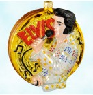 Viva Elvis Presley, Polonaise Christmas Ornaments, 2002, AP1490, Licensed, Gold record, musical notes, Kurt Adler, Mint with Tag, Box