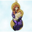 Seated Madonna - Purple Gown, Patricia Breen Christmas Ornaments, 1999, 9934, Virgin Mary with baby Jesus on gold ball, Mint with Tag