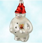 Frosty Cares, Christopher Radko Christmas Ornaments, 1994, 94-SP5-0, AIDS Charity Exclusive, red ribbon, gold heart,, Mint With Tag