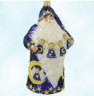 Angelic Santa - Cobalt, Patricia Breen Christmas Ornaments, 2004, 2477, Neiman Marcus, angels, moon, stars