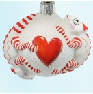 Once Again For James - Heart, Patricia Breen Christmas Ornaments, 2007, 2669, TBA 2, chameleons, Valentine heart ball, Mint with Tag Signed