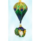 Peacock Noel Santa, Patricia Breen Christmas Ornaments, 2003, 2300NM, Neiman Marcus, 2 Part, bejeweled, feathers, balloon, animal, Mint With Tag
