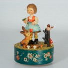 Music Box - Talk to the Animals, Anri, 1970s Vintage, 1612, Girl in dirndl feeds rabbit, red tulip, bird, flowers, stenciled flowers, Excellent vintage condition