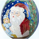 Been a Good Girl - Santa Claus, Radko Christmas Ornaments, 1997, 97-318-0, Italian, large blue drop, holly, Mint in Box