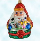 Santa's Favorites, Radko Ornaments, 1999, 99-208-0, Red suit, blue mits, sitting in green basket, holding toys, Christmas, Mint with Tag