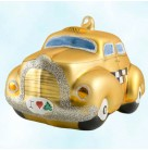 Checkered Past, Christopher Radko Christmas Ornaments, 1996, 96-063-0, Italian, Golden Taxi, Vintage Car, Mint