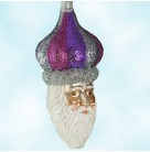Carnival Noel - Purple with Grey, Patricia Breen Christmas Ornaments, 2001, 2104, Santa in dome hat, FG, Mint With Tag