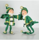 Green Elegant Elf Dolls Set of 2, Annalee, 2008, 501008, St Patricks Day, 75th Anniversary 7 1/4 inches, Mint with Tag