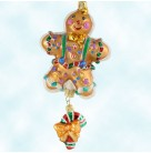 Spice Frost Folks - Gingerbread man, Radko Ornaments, 2002, 02-0427-CB, 2 part, candy cane, Christmas, Mint With Tag