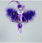 Sugar Plum Nutcracker, Christopher Radko Ornaments, 2010, 1015013, Italian, 2 tier, purple, twist drop, feathers, MWT MIB