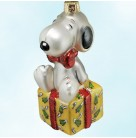 Snoopy on Gift, Kurt Adler Polonaise Christmas Ornaments, AP1581, Sitting on yellow wrapped present, red bow, ribbon, Mint with Tag, Box