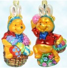 Easter Bunnies Pooh - Disney, Radko Ornaments, 1996, 96-DIS-17, Set of 2, egg, basket, sitting, Christmas, Mint with Tag, Box