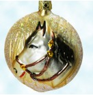 Horse Head, Old World Christmas Ornaments, 1990s, Inge Glas, Equestrian, golden & black mane, Mint