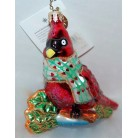 Dapper Red, Christopher Radko Christmas Ornament, 2001, 01-0089-0, Cardinal, bird, phearts scarf, Valentines, Mint With Tag