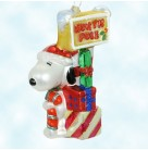 Northpole Snoopy - Charlie Brown, Polonaise Christmas Ornaments, Peanuts Collection, AP1511, green and red muffler,, Mint with Tag, Box