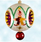 Elfin Sparkle - Pearl Fantasia, Christopher Radko Christmas Ornament, 2002, 02-0146-0,  Two-Tier, reflector, small red ball at base, Mint