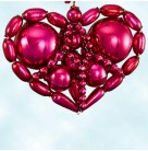 Loving Hearts, Fuchsia,Radko Ornaments, 2001, 0106730, Czech Republic beaded, Christmas, Mint