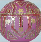 Tiffany Ball - Opaque pink, 1989, 89-044-0, Ltd, gold glittered art deco design, flowers, Mint with Tag