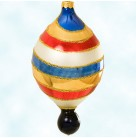 Swirl Balloon, Radko Christmas Ornament, 1996, 96-259-0, 2 Tier, multicolored, small navy blue ball, Mint with Tag