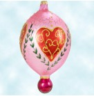 Heart's Desire, Radko Christmas Ornament, 1996, 96-281-0, 2 Tier, Pink tear drop, red ball, Valentines Day, Mint with Tag