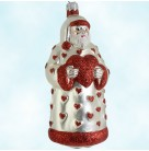 I Love You Santa - Red & Pearl, Patricia Breen Christmas Ornaments, 1997, B9725, Hearts, Trim, Valentines Day, Mint with Tag