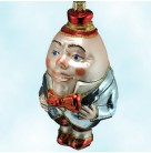 Humpty Dumpty, Polonaise Christmas Ornaments, AP477, Red button hat, bow, shoes, black jacket, Mint in Box