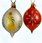 St. Moritz Drop, Gold Santa on Pearl, Radko Ornaments, 2001, 01-1090-0, Fantasia, Fir trees, Christmas, Excellent