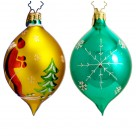 St. Moritz Drop, Red Skiier on Gold, Radko Ornaments, 2001, 01-1090-0, Fantasia, Fir trees, Christmas, Excellent