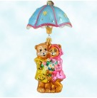 Shower Me with Love - Bears, Radko Ornaments, 2002, 02-0499-0, 2 Part, April ornament of the month, Christmas, Mint with Tag, Box
