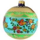 Devonshire Ball, Christopher Radko Christmas Ornament, 1999, 99-338-0, Turquoise, green bands on gold, birds flowers, Mint with Tag